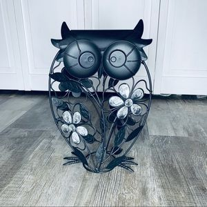 Owl accent piece/ decor black metal with floral